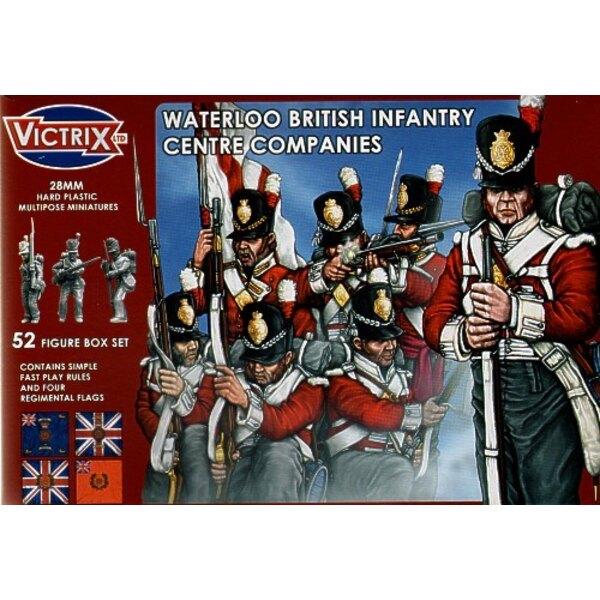 Waterloo Zentrum-Gesellschaften t52 individuelle Figuren einschließlich des Offizier-Standardträger-UNTEROFFIZIERS und Drummer.