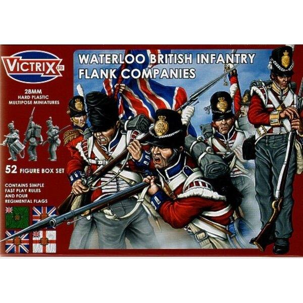 Britische Waterloo-Flanke-Gesellschaften t52 individuelle Figuren einschließlich des Offizier-Standardträger-UNTEROFFIZIERS und