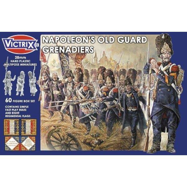 Französische Napoleonische Reichswächter-Grenadiere (spielen 60 Harte Plastikmehrpose-Miniaturen schnell Regeln und 8 Regimentsf