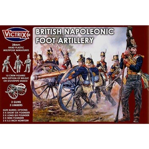 Britische Napoleonische Fußartillerie. Spanischer Halbinsel-Krieg zu Waterloo. Sie können frühe oder späte Periode-Kanonen sowie