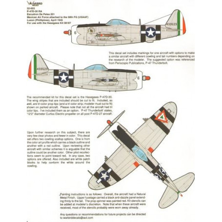 Decal Mexican P-47D-30 Thunderbolt WWII Phillipines