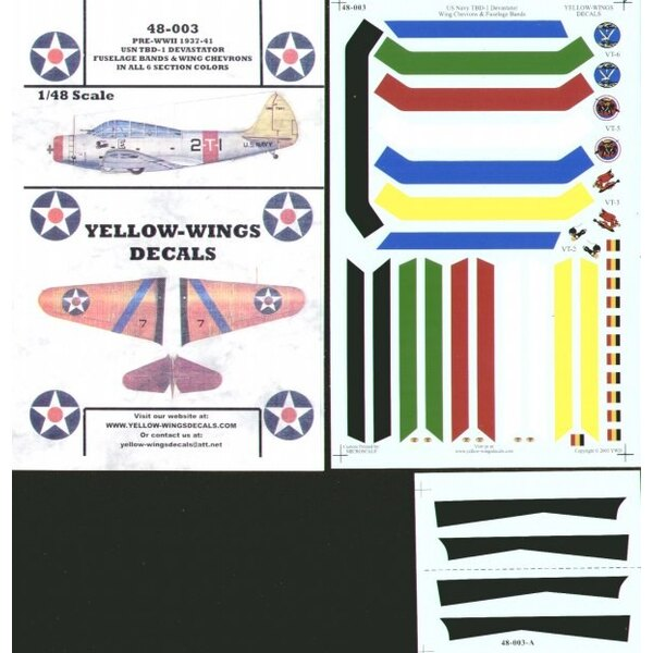 Douglas TBD-1 Devastators. USN Wing Chevrons and Fuselage Bands in 6 section colours and Squadron badges for VT-2 VT-3 VT-5 and