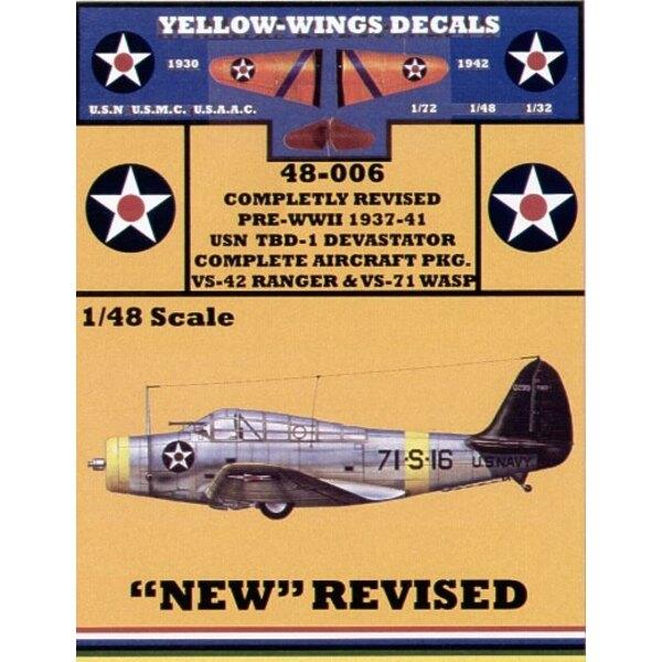 Douglas TBD-1 Devastator (2) 42-S-18 VS-42 Willow green fin USS Ranger 71-S-16 VS-71 Black fin USS Wasp