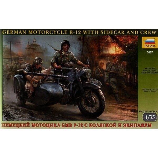 Deutscher 2WK BMW R 12 Motorcycle mit Beiwagen und der Besatzung und dem Schwein. (R-12 R12 R.12)