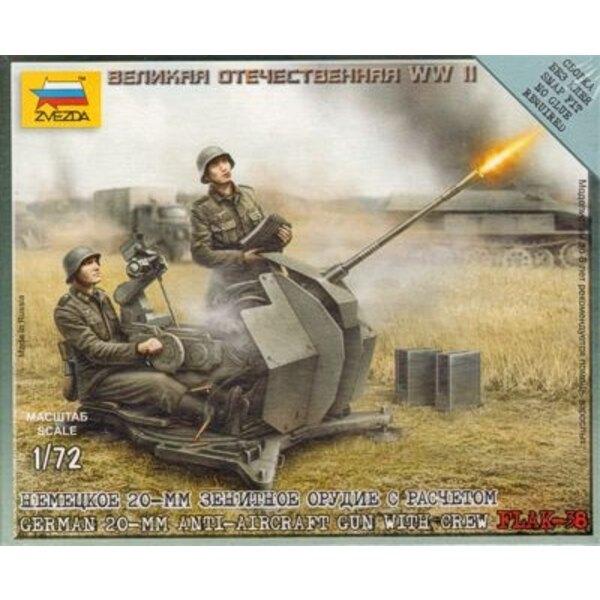 Deutsche 20-Mm-Fliegerabwehrkanone mit 2 Besatzung-Figuren. Beinhaltet Basis, wie illustriert,
