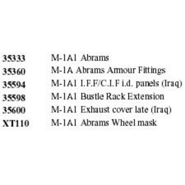 M1A1 ABRAMS (für Tamiya) Dieser BIG ED Set beinhaltet die folgende Eduard Referenzen : ED35333 M1A1 Abrams ED35360 M1A Abrams ar