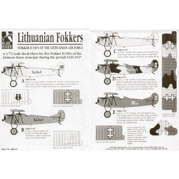 Fokker D.VII. 5 Lithuanian Air Force D.VIIs 1920-37