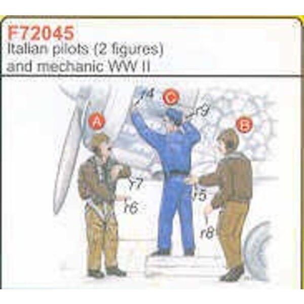 2 italienische Piloten-2WK + Mechaniker