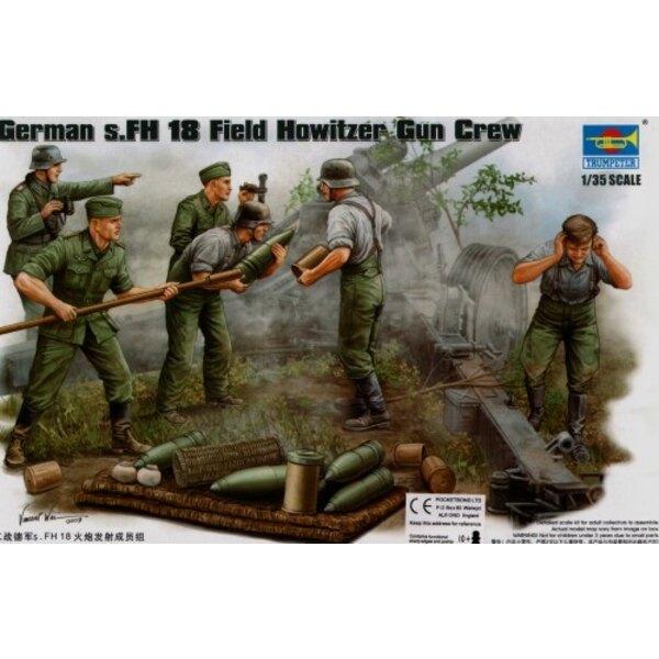 Deutscher 2WK s. FH Feldhaubitze-Kanone-Besatzung. Munitionsversorgungsteam x 4 Figuren und Munition usw.