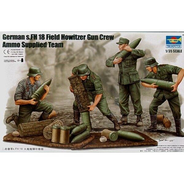 Deutscher 2WK s. FH 18 Feldhaubitze-Kanone-Besatzung. Das Laden der Kanone x 6 Figuren und Munition usw.