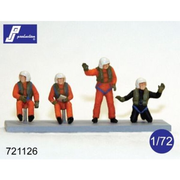 SAR / Search And Rescue Hubschrauber / Westland Sea King Crew (Set von 4 Figuren: Pilot, Co-Pilot, wincher, Taucher)