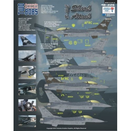 Decal F-16C Block 30 All 482nd FW tail code FM, Homestead AFB, Florida.(4) 87290 Makos with large shark on black fin; 88-0404 48
