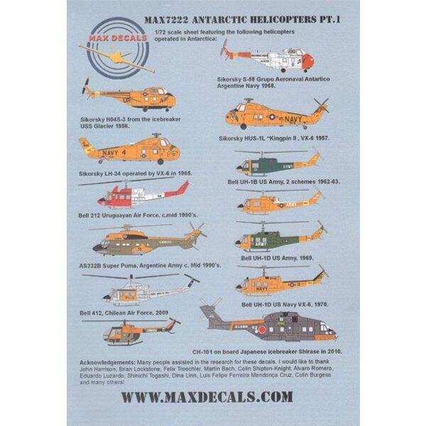 Antarctic Helicopters Part 1 (10) Sikorsky LH-34D 8122 JD/4 VX-4 1965; HUS-1L 657 XD/25 VX-6; HO4S-3 138517 UR/81 Icebreaker USS