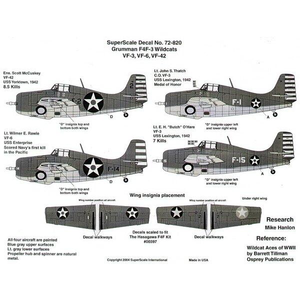 Grumman F4F-3 Wildcat (4) F-2/2 VF-42 Ens Scott McCuskey USS Yorktown 8.5 kills; Grumman F-14 VF-6 Lt Wilmer E.Rawie USS Enterpr
