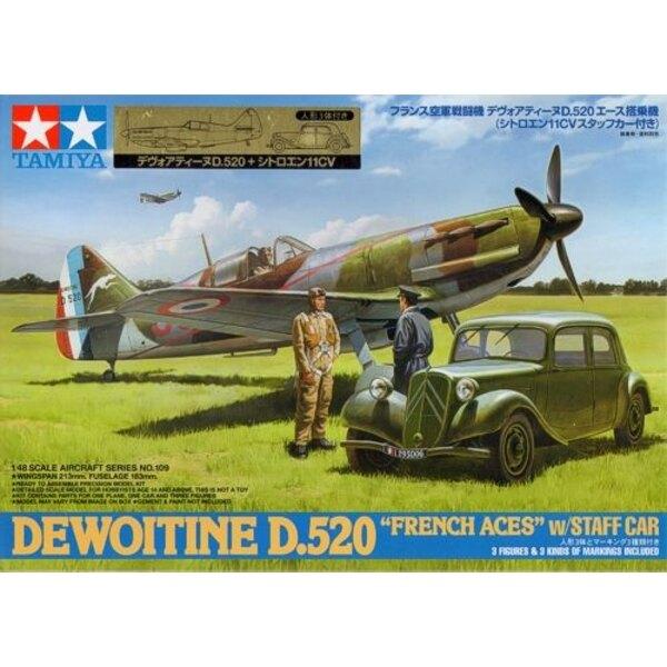 Dewoitine D.520 mit Citroen Traction 11CV Staff Car. Plus 1 sitzende Pilot Figur 1 steht Pilot und Offizier Figur (insgesamt 3 Z