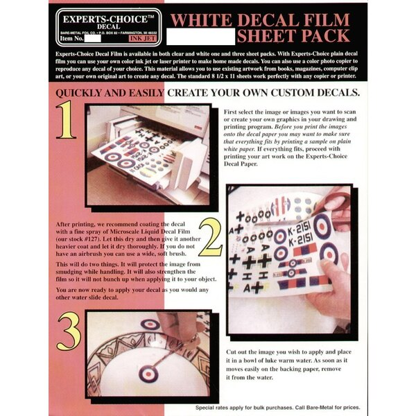 White Decal Film. Approx 11 x 8.5 /215mm x 280mm. Suitable for Ink Jet (inkjet)/Bubble Jet Printers. Decal paper/Clear paper/tra