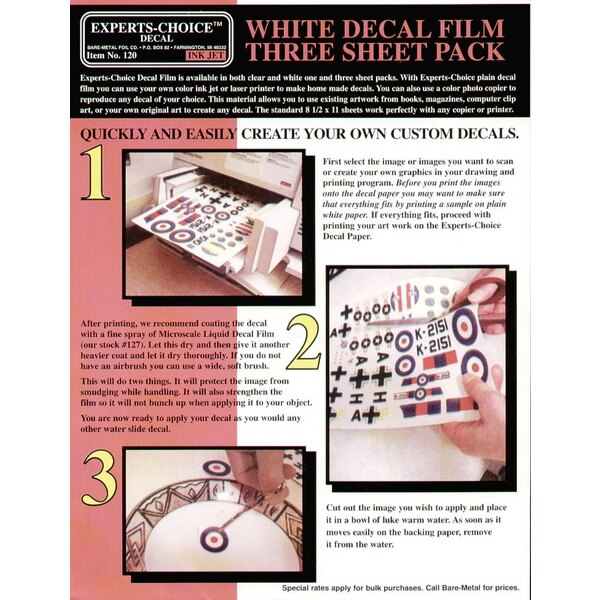 3 x White Decal Film. Approx 11 x 8.5 /215mm x 280mm. Suitable for Ink Jet (inkjet)/Bubble Jet Printers. Decal paper/Clear paper