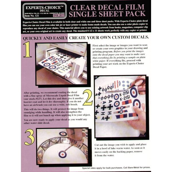 Clear Decal Film. Approx 11 x 8.5 /215mm x 280mm. Suitable for Ink Jet (inkjet)/Bubble Jet Printers. Decal paper/Clear paper/tra