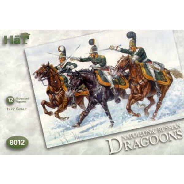 Napoleonische russische Dragoner. 12 zu Pferde Figuren. Früher Stil-Helm.
