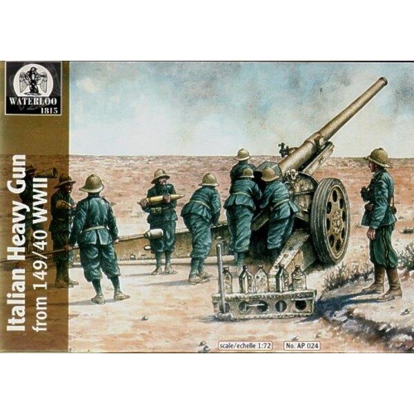 Wieder-herstellt! Italian schweres Geschütz 2.WK (1 Pistole mit 9 Artilleriemannschaft Figuren) in hartem Kunststoff geformt