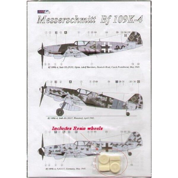Messerschmitt Bf 109K-4 (3) Schwarz ~ Stab III/JG52 Hptm. A.Borchers, schwarz 1 +> Stab III/JG27; White 5 NJG 11 alle 1945. Vers
