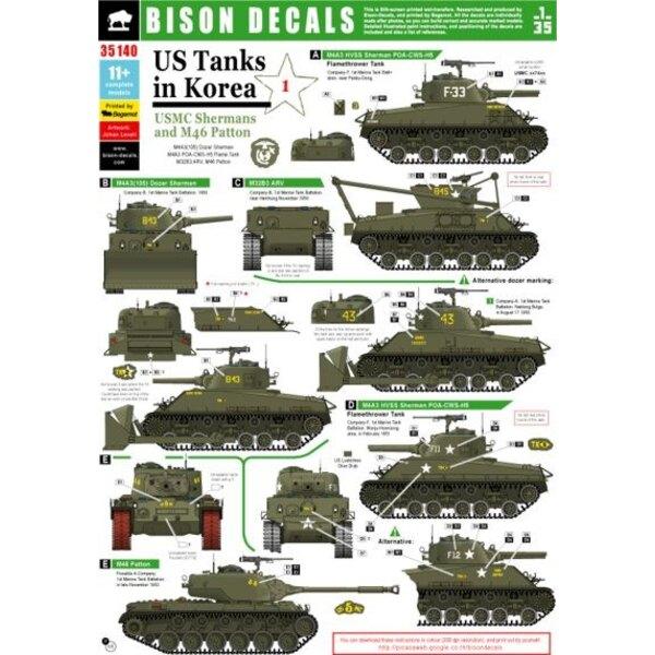 US Tanks in Korea (#1) . - USMC Sherman and M46 Patton. M4A3 (105) Dozer Sherman, M4A3 POA-CWS-H5 Flame Tank, M32B3 ARV, M46 Pat