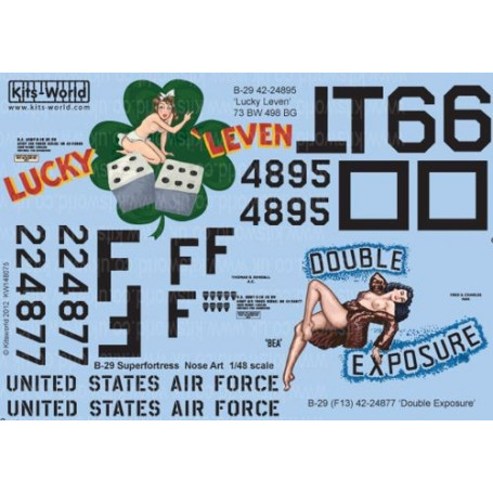Decal Boeing B-29 Superfortress (2) 42-24895 TO6 Lucky Leven 73BW /498BG; F-13A 42-24877 Double Exposure 3rd PRS Guam 1945.