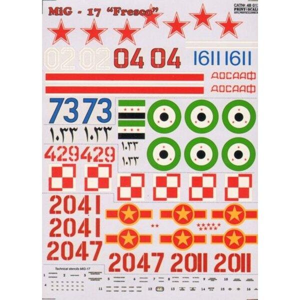 Mikoyan MiG-17 Fresco Part 1 (8) Russian White 02 Kiev 1970; Blue 1611 Czechoslovakia 1968; Red 04 146th Guard Air Regt 1957; Re