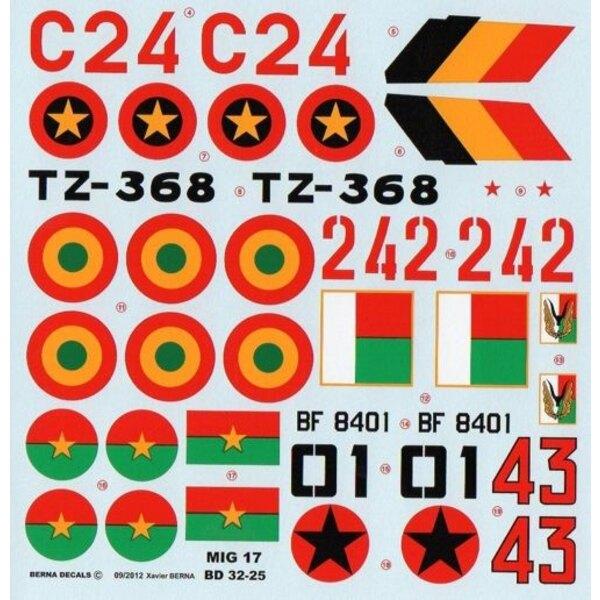 African Air Forces Mikoyan MiG-17 : MiG-17F C24 Angola, MiG-17F BF 8401 Burkina Faso, MiG-17F 43 Guinea-Bissau, MiG-17F 242 Mada