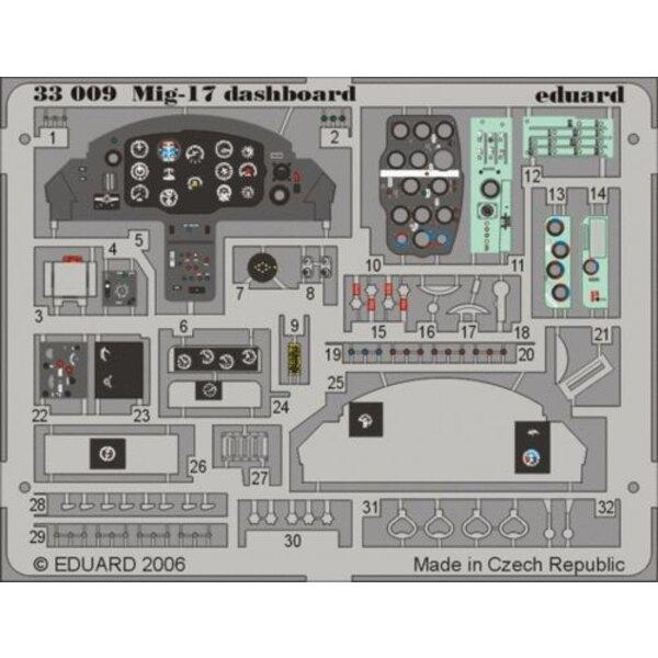 Mikoyan MiG- 17 Schalttafel in Farben vorgemalt! (für Bausätze von Trumpeter)