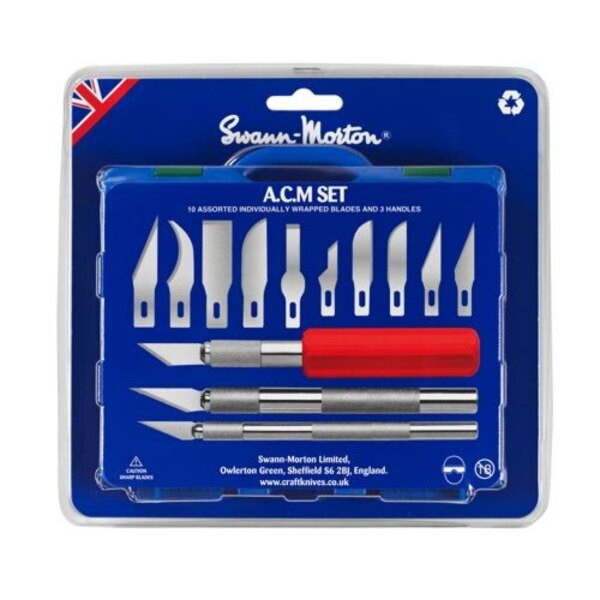 A.C.M Set (Art's, craft and Modellers Set) Includes 1 x No.1 handle, 1 x No.2 handle, 1 x No.5 handle and 13 precision ground ca