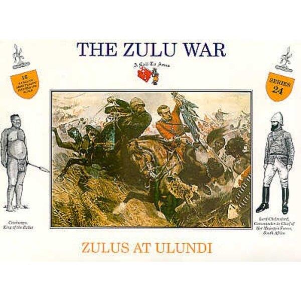 Zulus an Ulundi. 4 verschiedene Posen mit getrennten Schildern. 4 jeder Pose.