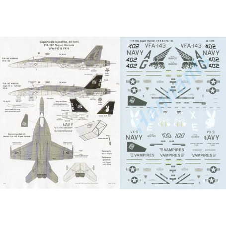 Decal Boeing F/A-18E Super- Hornets2 AG/402 166600 VFA -143 Pukin Hunde