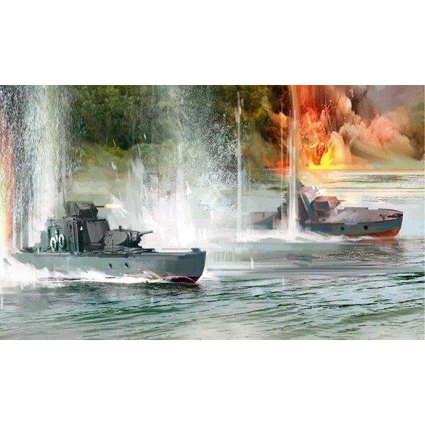 Sowjetische Panzer Flussschiff
