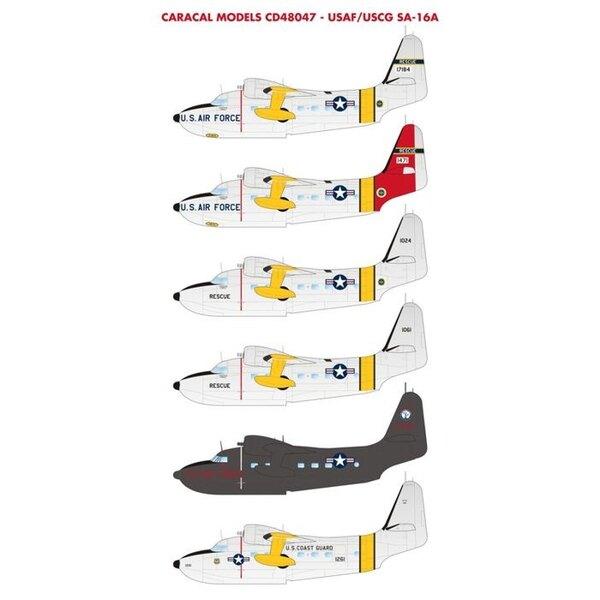 Decal Grumman HU-16A Albatros USAF / USCG - Unsere zweite Blatt für den SA-16A Trumpeter Kit enthält Markierungen für die frühe