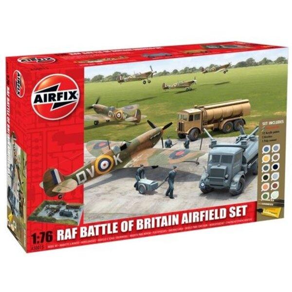 RAF Battle Von Großbritannien - Flugplatz-Set . Beinhaltet 12 Acrylfarben 2 Bürsten und 1 Poly-Zement.
