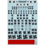 Decal Luftwaffe Swastikas. Various styles including solid outline and stencil in white black and grey. Also includes pre-war sty