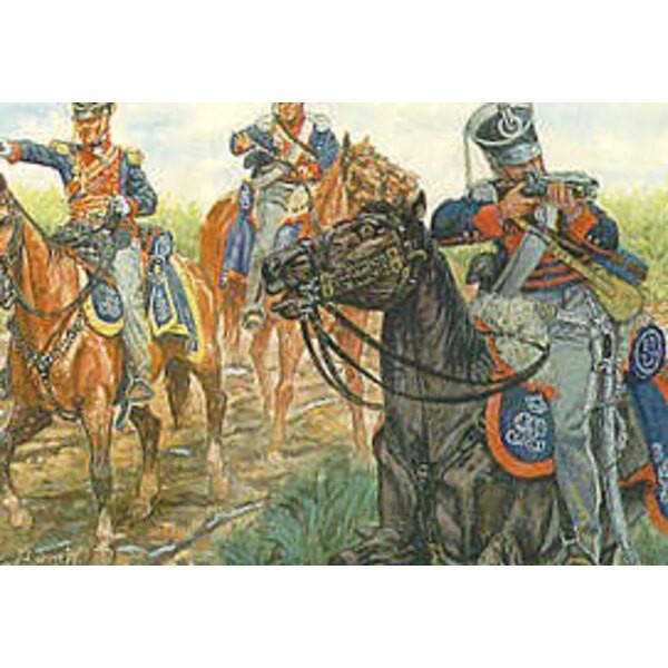 Die deutschen Legionslicht-Dragoner des Königs. 12 zu Pferde als britische Leichte Dragoner auch verwendbare Figuren.