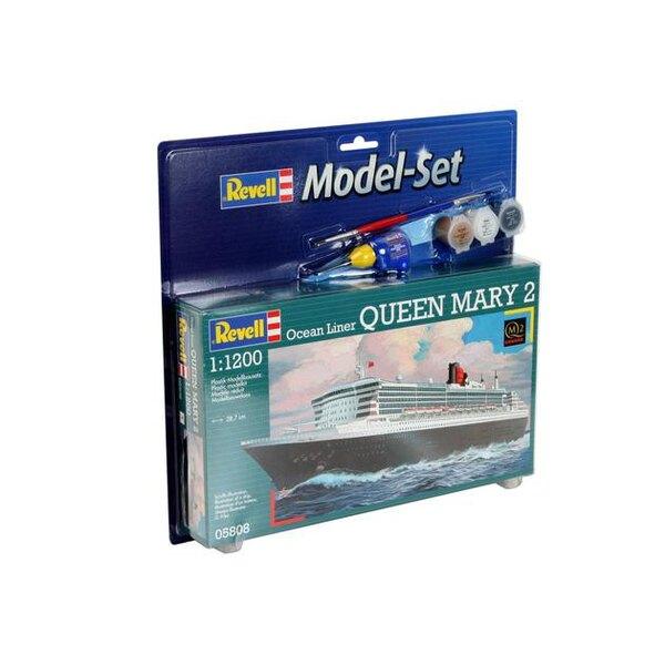 Queen Mary 2 Model Set - Geschenkbox beinhaltet das Modell, die Farben, ein Pinsel und Kleber