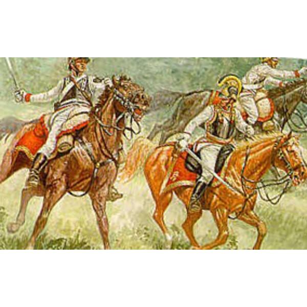 Napoleonische österreichische Kürassiere. 12 zu Pferde Figuren mit Helmen und Vorderkürassen nur.