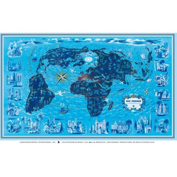 Air France Blue World Map - Lucien Boucher 1964