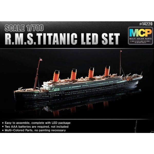 RMS Titanic + LED setUpper Deck und Kabinenbeleuchtung effectMCP (Bunt Teile) LED unit.Display stehen mit Batterie holder.Requir