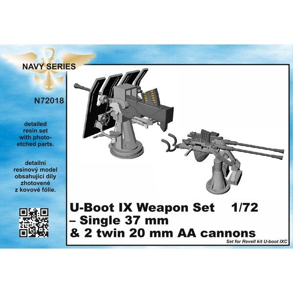 Typ IXC Waffen Set - Einzel 37mm und 20mm AA Kanonen [entworfen mit Revell-Kits) (U-Boot / U-Boot / U Boot / U-Boot / U-Boote ve