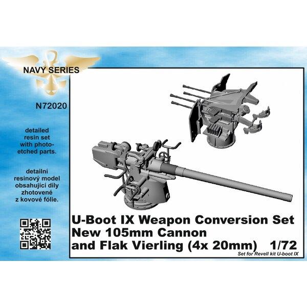 Typ IXC Waffe Umrüstsatz - neue 105mm Kanone und Flak Vierling 4 x 20mm [entworfen, um mit Revell-Kits verwendet werden) (U-Boot