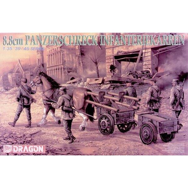 8.8cm Panzerchreck.Pferd und Waffen Wagen und Anhänger mit 5 Figuren