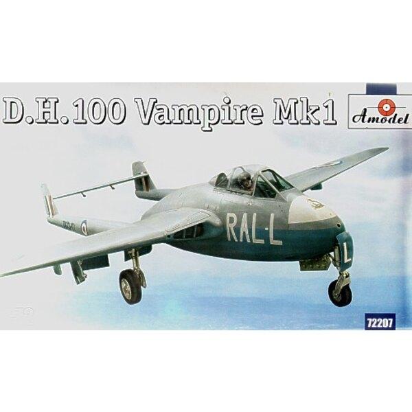de Havilland DH 100 Vampire Mk.1 Neue Form. Mit Abziehbildern für 3 Flugzeuge TG297 ZY-C 247 Sqn 1946 VF306 AP-V 130 Sqn Odiham