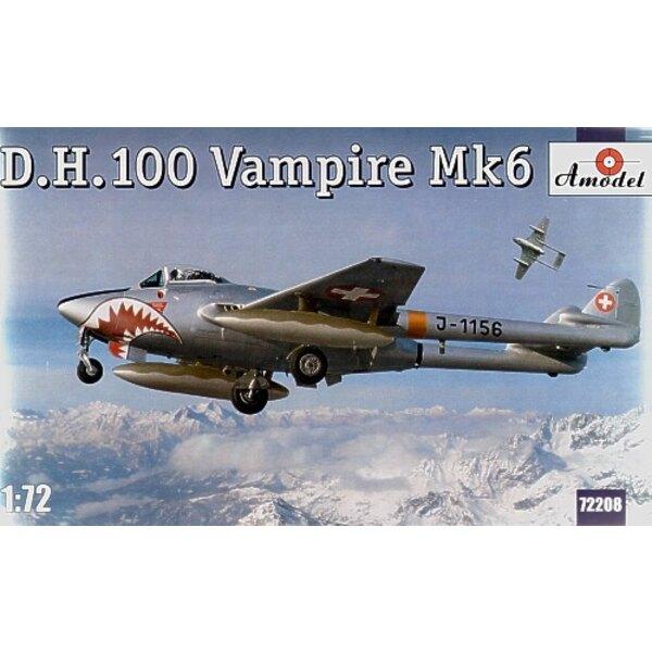 de Havilland DH 100 Vampire Mk.6 Neue Form mit spitzen Nase und den Abziehbildern für J-1156 des schweizerischen AF.