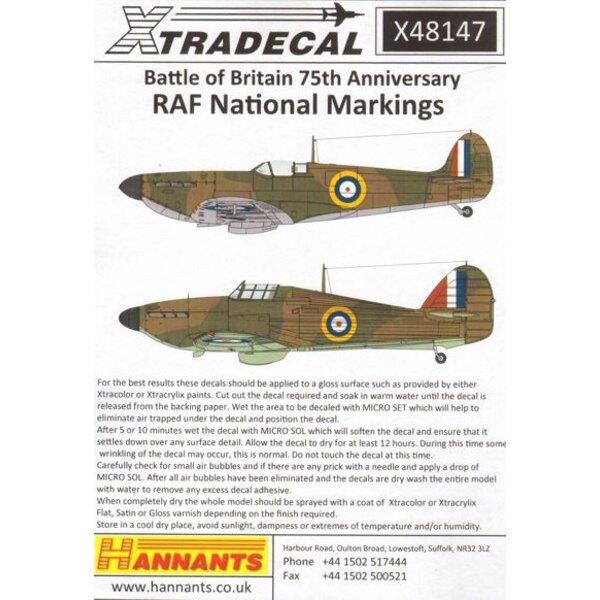 Spitfire und Hawker Hurricane nationale Insignien Battle of Britain 1940 Doppelblatt.