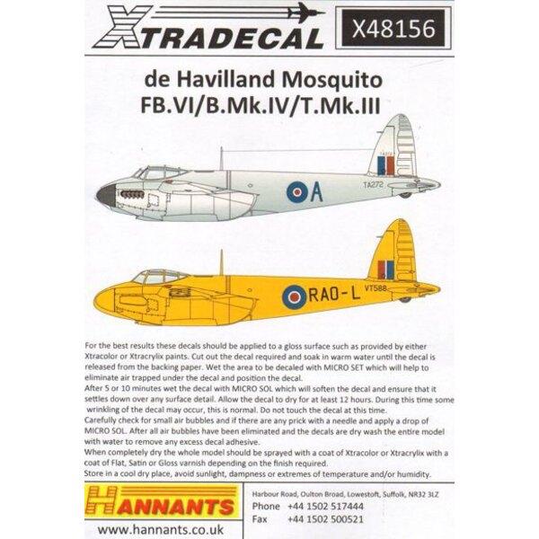 de Havilland Mosquito T.Mk.III, B.Mk.IV, FB.Mk.VI, (7) Mosquito T.Mk.III TV970 FK-V20 Sqn RA Wittenau 1946 - T.3 VT588 608 Squad