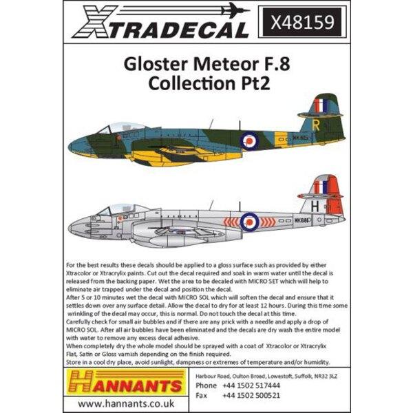Gloster Meteor F.Mk.8 Sammlung Pt 2 (7) VZ494 501 Squadron RAF R.Aux.AF Filton 1957 - WA962 / D 41 Squadron RAF Biggin Hill 1950